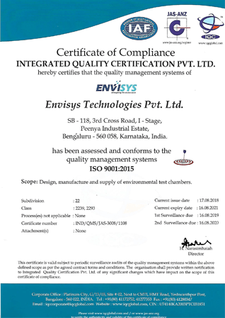 Envisystech - ISO Certification